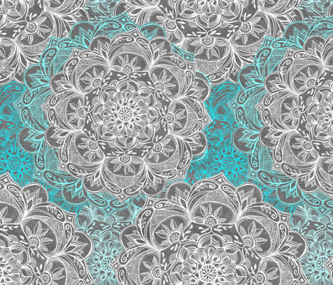 Turquoise, White and Grey Hand Drawn Mandalas large  fabric by micklyn on Spoonflower - custom fabric