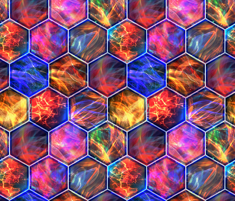 MAGIC CONTAINED LIGHTNING HEXAGONS dark fire sunset fabric by paysmage on Spoonflower - custom fabric