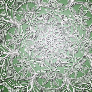 Grown Up Green and White Hand Drawn Mandalas large