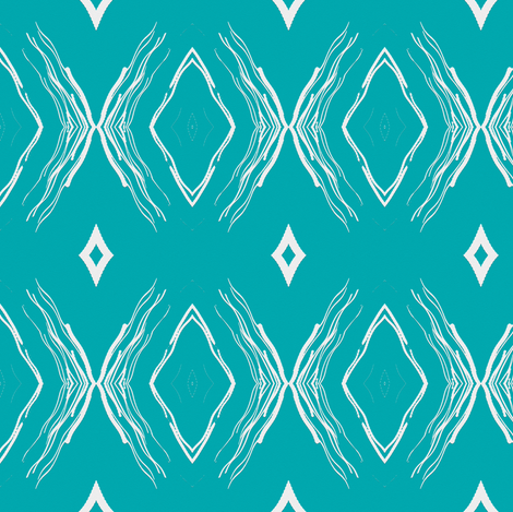 STYLIZED BUTTERFLIES DIAMONDS aqua turquoise fabric by paysmage on Spoonflower - custom fabric