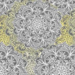 Yellow, White and Grey Hand Drawn Mandalas small
