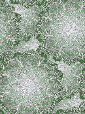 Grown Up Green and White Hand Drawn Mandalas small