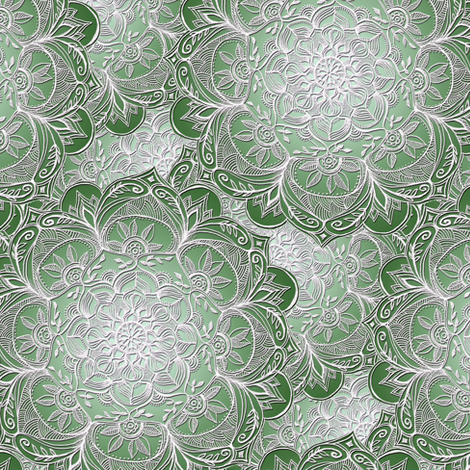 Grown Up Green and White Hand Drawn Mandalas small fabric by micklyn on Spoonflower - custom fabric
