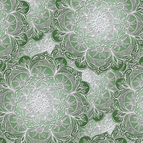 Grown Up Green and White Hand Drawn Mandalas small