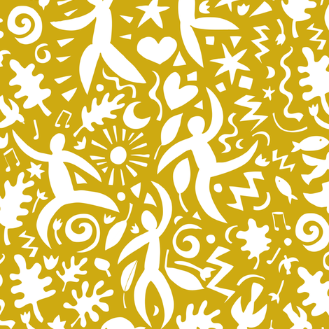 Cuban Salsa - white on mustard fabric by cecca on Spoonflower - custom fabric