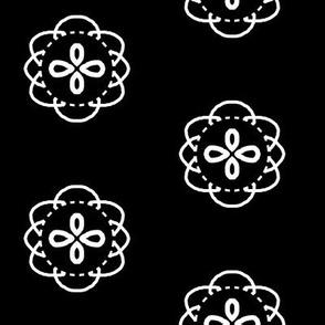 Button Jar -white on black