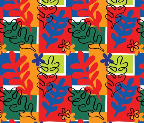 Matisse Cut Out Inspired Floral Foliage fabric by laine_and_leo on Spoonflower - custom fabric