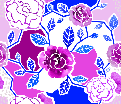 Paper-cut Roses fabric by lebski on Spoonflower - custom fabric