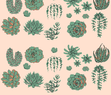 Succulents fabric by hollywood_royalty on Spoonflower - custom fabric