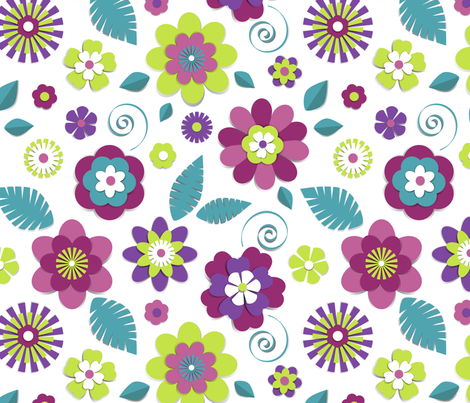 Floral cut paper fabric by olgart on Spoonflower - custom fabric