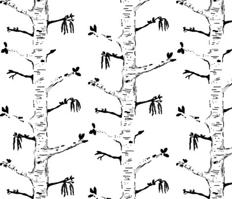Home Sweet Blooming Birch -black n white  fabric by franbail on Spoonflower - custom fabric