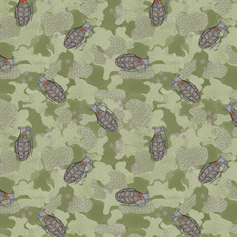 Grenades military green fabric by susiprint on Spoonflower - custom fabric