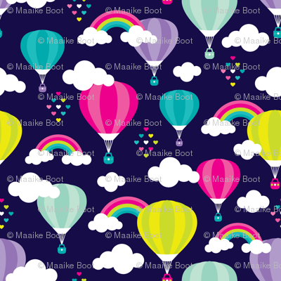Cute colorful hot air balloon retro clouds and rainbow illustration pattern SMALL