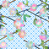 Painted Cut Paper Pink and Blue Dogwood Blossoms on Gingham Large