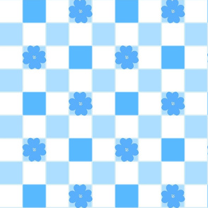 Giant Blue Gingham with Blossom Two Inch Square