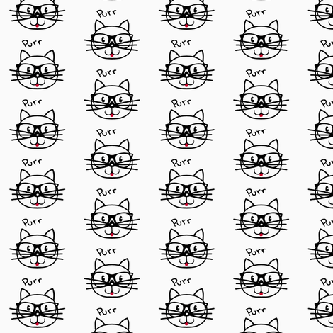 Purr-fect (cat) / Black & White fabric by franbail on Spoonflower - custom fabric