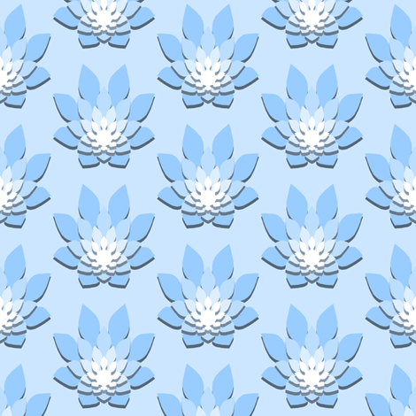 flame-flower paper shadow : azure blue fabric by sef on Spoonflower - custom fabric