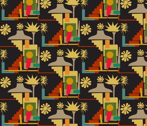 Mod Aloha Shacks fabric by boris_thumbkin on Spoonflower - custom fabric