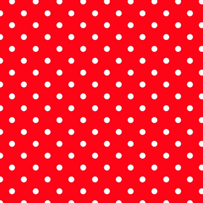 Carmine Red and White Polka Dots