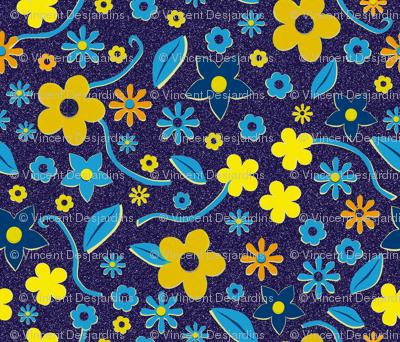 Cut Paper Flowers Blue