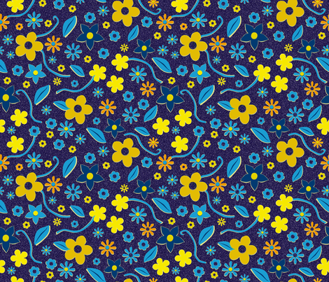 Cut Paper Flowers Blue fabric by vinpauld on Spoonflower - custom fabric