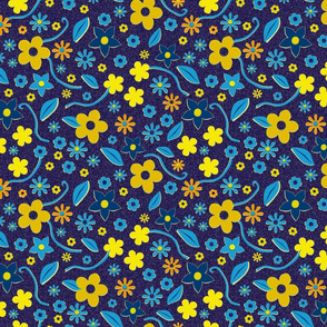 Cut Paper Flowers Blue