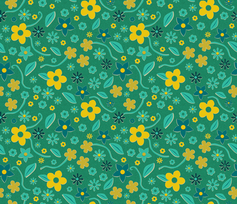 Cut Paper Flowers Green fabric by vinpauld on Spoonflower - custom fabric