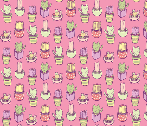 Cactus Cats in Pink fabric by pinkowlet on Spoonflower - custom fabric