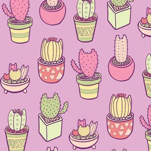 Cactus Cats in Purple