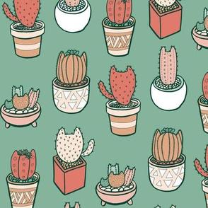 Cactus Cats in Cactus Green