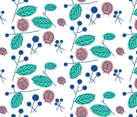 Ladybugs in the Morning fabric by bashfulbirdie on Spoonflower - custom fabric