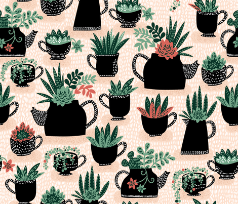 Spiked Tea is Succulent fabric by cynthiafrenette on Spoonflower - custom fabric