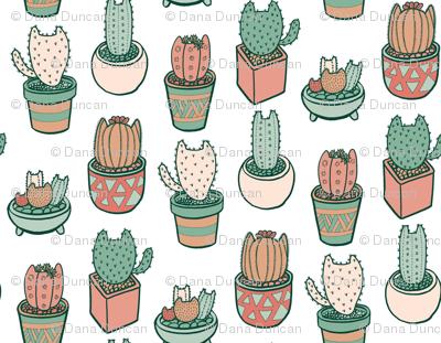 Cactus Cats in Ceramic White