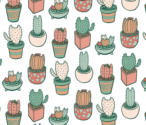 Cactus Cats in Ceramic White fabric by pinkowlet on Spoonflower - custom fabric