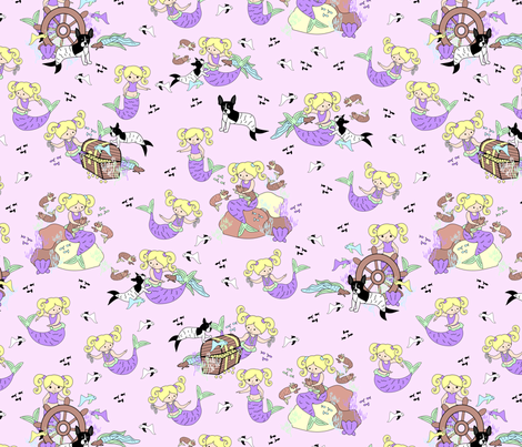 mermaid and pets pastel fabric by pamelachi on Spoonflower - custom fabric