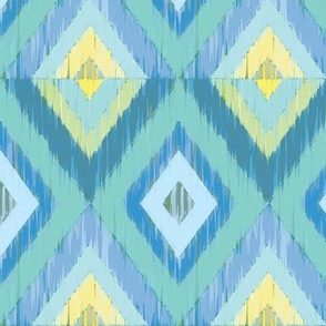 Ikat Diamonds in teals and blues