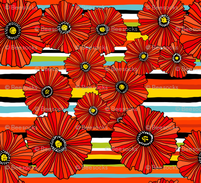 Summer poppies stripe