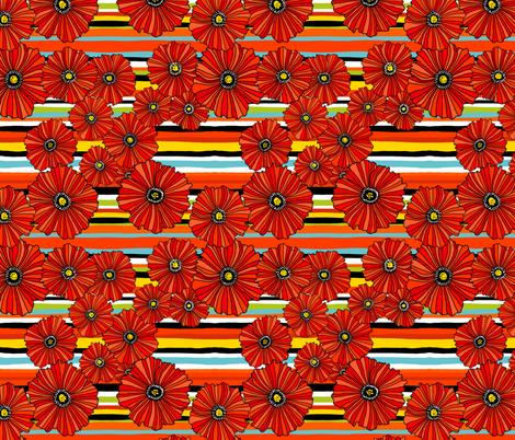 Summer poppies stripe fabric by beesocks on Spoonflower - custom fabric