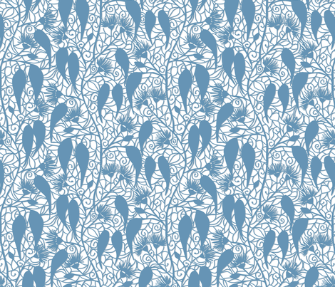Eucalyptus paper cut floral fabric by hollydickson on Spoonflower - custom fabric