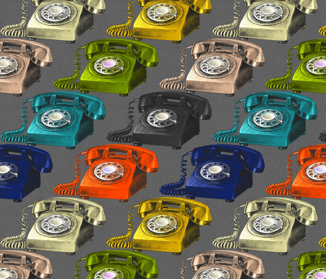 Rotary Dialling Ring Ring......... Hello fabric by abbieuproot on Spoonflower - custom fabric