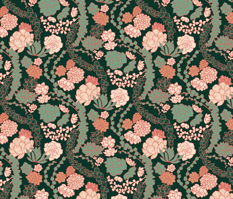 Succulent Waltz - Peach fabric by ceciliamok on Spoonflower - custom fabric