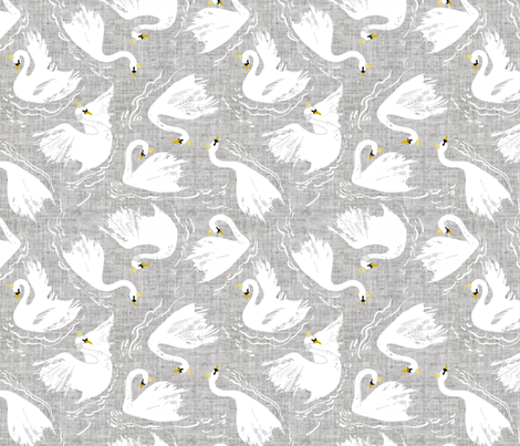 Swan Lake (pewter) fabric by nouveau_bohemian on Spoonflower - custom fabric