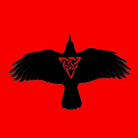 Raven in Flight Silhouette on Red fabric by ingridthecrafty on Spoonflower - custom fabric