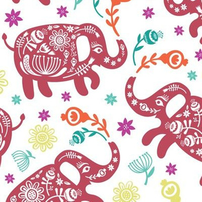 Pachyderms & Posies in Colorful