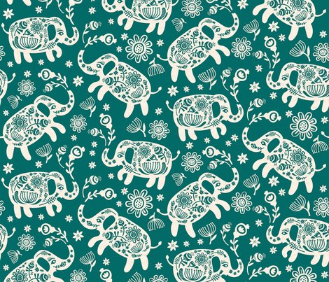 Elephants_floral-teal_papercut_shop_preview