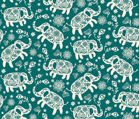 Pachyderms & Posies in Jade fabric by pinkowlet on Spoonflower - custom fabric