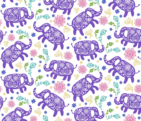 Pachyderms & Posies in Purple fabric by pinkowlet on Spoonflower - custom fabric