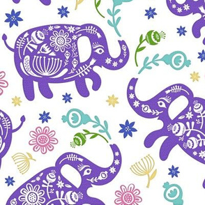 Pachyderms & Posies in Purple