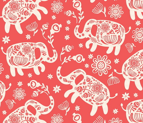 Pachyderms & Posies  {big} fabric by pinkowlet on Spoonflower - custom fabric