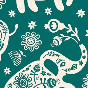 Pachyderms & Posies in Jade {big}